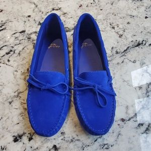 NEW JCrew Blue Suede Driving Moccasins